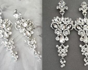 Crystal earrings, Brides earrings, Wedding earrings, Feminine earrings, Chandelier earrings, Mother of the bride earrings, Pageant earrings
