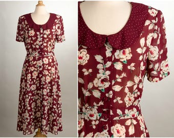 Vintage Floral Dress with Polka Dot Peter Pan Collar. Size Small/Medium. 80's Fashion.