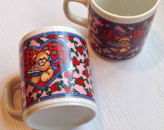 Pair of Vintage Lucy and Me Valentine Mugs by Enesco