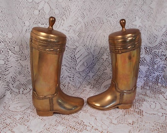 Vintage Solid Brass Cowboy Boots Bookends Heavy and Nice