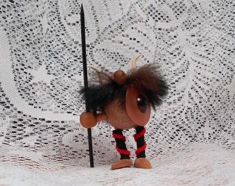 Vintage Small Wood and Fur Viking Danish Denmark Figurine