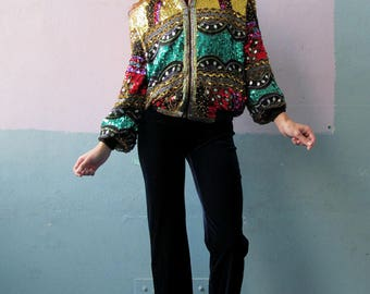 Vtg 80s Sequin Bomber Jacket