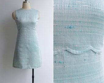 Vintage 60's Seafoam Blue Scalloped Raw Silk Shift Dress XXS or XS