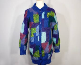 Vintage 80s Jan Paul Bernard Patchwork-Style Mohair Long Cardigan Sweater Women's S / M