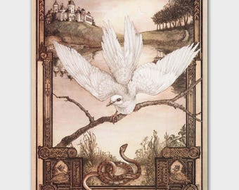 "Fairy Tale Art ""The Dove and the Snake"" Art, Vintage Aesops Fables Illustration, Good vs. Evil Goth Art"