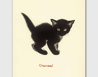 "Cat Art Print, Black Cat Art (Vintage Cat Illustration, Chat Noir Gift) Clare Turlay Newberry --- ""Charcoal"""