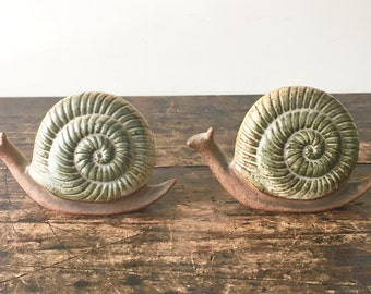 Vintage Pair of Pottery Snail Candle Holders