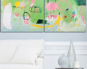 Large art 55x40 City Art Greenery Green Painting with Pink Original abstract fun fresh Modern Art Huge Canvas Painting by Duealberi