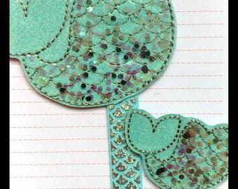 Mermaid tail shaker planner band paperclip set, Mint green planner bookmark set, Glitter vinyl mermaid tail planner paperclip accessory