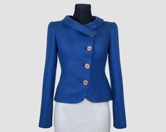 Blue Felted Jacket for Women | wool jacket | something blue | bridal jacket | felt jacket | merino wool jacket
