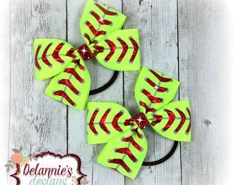 Softball Pigtail Bows Set