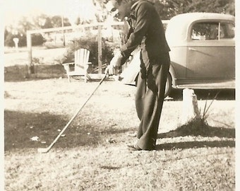"Vintage Snapshot ""Practice Swing"" Golf Clubs Woods Irons Found Vernacular Photo"