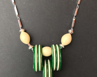 Green & White Galalith Necklace