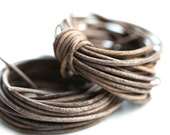 1.5mm Round Leather cord - Vintage Taupe - 10 feet, LC089