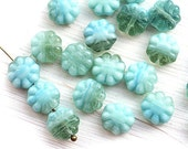 Mint Blue Flower beads, czech glass, mixed color, flat daisy, mint beads, floral beads, pressed beads - 9mm - 20Pc - 0946