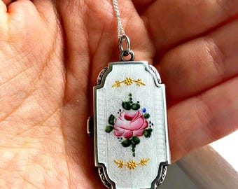 Antique Edwardian/Victorian Sterling Silver Thick Guilloche Enamel Floral Locket