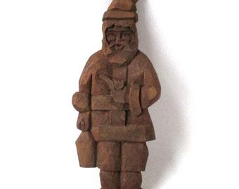Santa Folk Art Wood Sculpture, Santa Claus, wood carving, American Folk Art, Saint Nick sculpture, Christmas