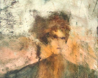 Portrait of a Woman Painting, Bronie, unusual, original oil on board, artwork, Artist Val Kupris, Willimantic CT