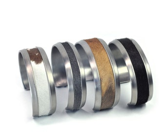 Cowhide and Titanium Bracelet Cuff / Mens Jewellery / Genuine Fur / Leather Bracelet / Unisex Jewellery