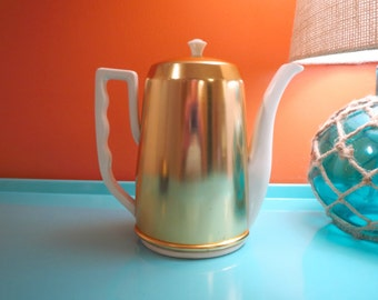 Vintage 1950s MID Century Modern Lipper & Mann Ceramic Tea Coffee Pot Cozy Metal