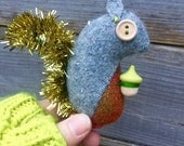 Small wool Squirrel ornament with Tinsel tail (#1)