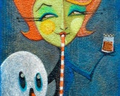 "Pumpkin Spice Original Halloween Painting by Melissa Belanger 8""x24"" EHAG Emporium"