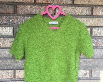 Vintage Green Cropped Fuzzy Sweater