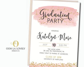 Graduation Party Invitation, Simple Graduation Invitation, printable - DIY, Pink, Black, Glitter, High School Graduation