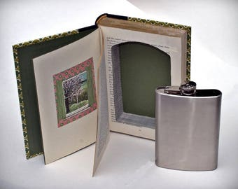 Book safe Flask stash candy photo jewelry hiding place 1st anniversary gift, secret book safe diversion book box hidden compartment booksafe