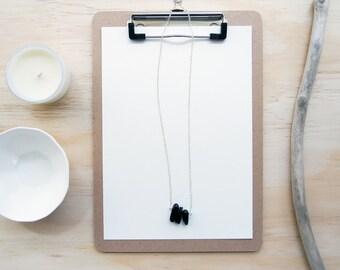 Pendant Necklace - Black Onyx - Boho Gemstone Necklace - Gold or Silver - Customisable