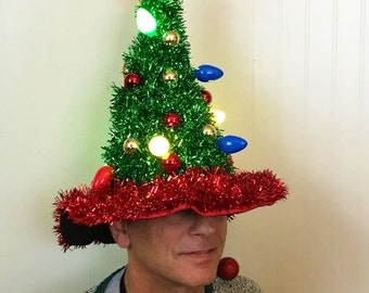 UGLY CHRISTMAS TREE Hat. Light Up. X-mas Sweater Contest Winner. Funny. Flashing Lights. Obnoxious.
