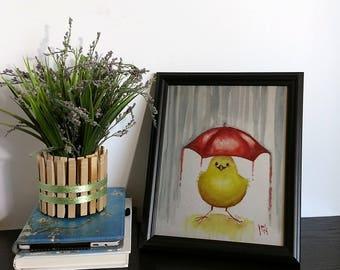 Yellow Bird Art - Bird Art Print - Red Umbrella - Rain Art - Baby's Room - Nursery Art - Happy Bird - Watercolor Poster - Childrens Room