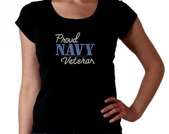 Proud Navy Veteran RHINESTONE t-shirt tank top sweatshirt -  S M L XL 2XL - Bling Naval Anchor Military Vet Veterano