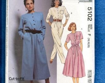 McCall's 5102 Front Button Pant Dress with Wide Legs Dress & Jumpsuit Size 16..18..20 UNCUT