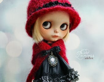 SALE!!! Blythe Ooak Set The LITTLE PARISIAN, Jacket And Hat, By Odd Princess Atelier, Hand Knitted Collection