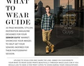 What to Wear Guide Senior Guys Photography Template, Photoshop Template, Welcome Style Guide, Photography Marketing Template, WTG101G