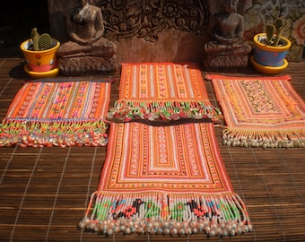 Embroidered Textile  Tribal  Panel By The Hmong Hilltribe People Set of 4 Beaded