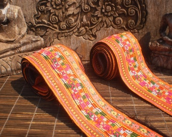 Embroidered Straps, Tribal Textile, Tribal Straps, Set Of 2, Hmong Textile, Hmong Vintage Textile, Vintage Straps, Embroidered Textile