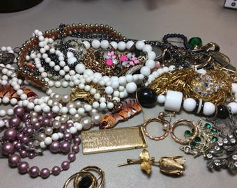 Free US SHIPPING vintage jewelry pins necklaces craft parts beads misc stuff over 1-1/2 lbs Lot B3