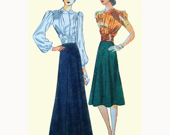 1930s Style Dramatic Formal Gathered Button up Cummerbund Blouse and Flared Slip Dress Set Custom Made in Your Size From a Vintage Pattern