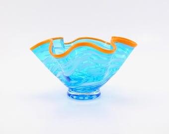 Hand Blown Glass Bowl in Aqua Blue