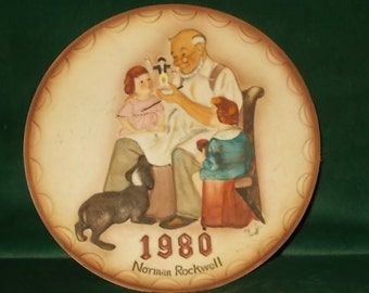 Norman Rockwell Plate 1980 Collector Club The Toymaker Plate Raised Relief Children Dog Toy Maker Plate