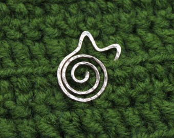 Cat Spiral Pin Brooch Copper Shawl Pin Scarf Pin Sweater Pin Sterling Brooch Safety Silver Pin Brooch Spiral Brooch Sterling Silver