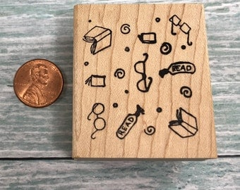 Book Lovers Background Rubber Stamp
