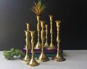 Brass Candlestick Holders, Set of 9, Assorted Large Candle Holders, Mid Century Brass, Hollywood Regency, Boho Wedding, MCM Brass, Bohemian