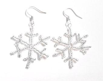 Beaded Snowflake Earrings, Silver Christmas Earrings, Snowflake Jewellery, Stocking Filler UK