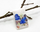StudioStJames Rustic Bird Cabochon Pendant-Handcrafted Polymer Clay Focal 26x40mm -White Blue-Jewelry Supplies-PA 100343