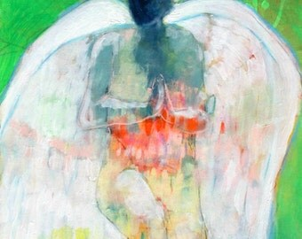 """Original Angel Painting, Abstract Figure, Colorful Modern Iconography, """"Prayer"""" 16x20"""""""
