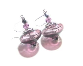 Purple Murano Mouth Blown Glass Earrings, Venetian Earrings, Hollow Glass Earrings, Sterling Silver Leverbacks Earring, Art Glass Jewelry