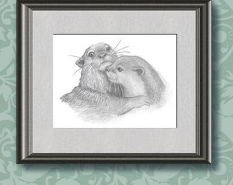 """Otters - pencil drawing of two otters. Original art, A4 sized (approx 8"""" x 11""""), perfect size for framing. All proceeds to charity."""